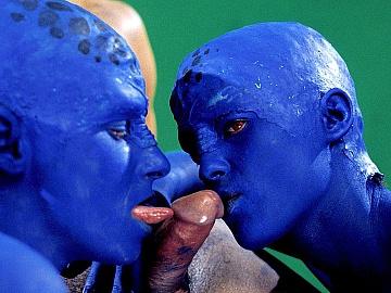Martians Stephanie and Tavalia Griffin Give an Earthling a Blowjob