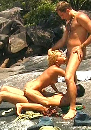 Colette Has a Hardcore Threesome and DP on the Rocks by the Shore