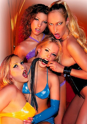 Four Girls Dressed up in Latex and Lingerie Have Sex Together