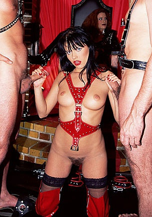 Tania Russof in a fetish Orgy